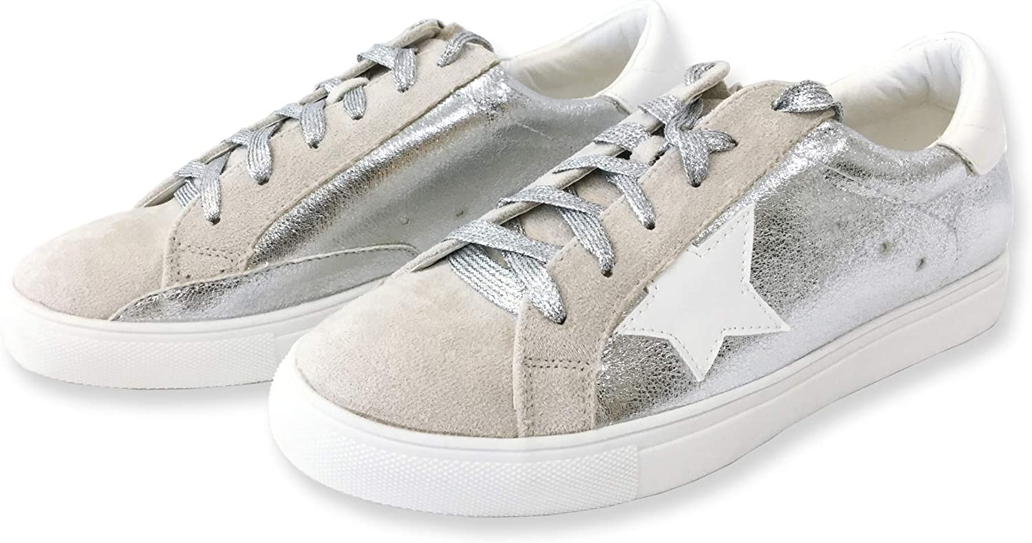 Women Classic Two Tone Star Lace up Fashion Sneakers (9, Silver)