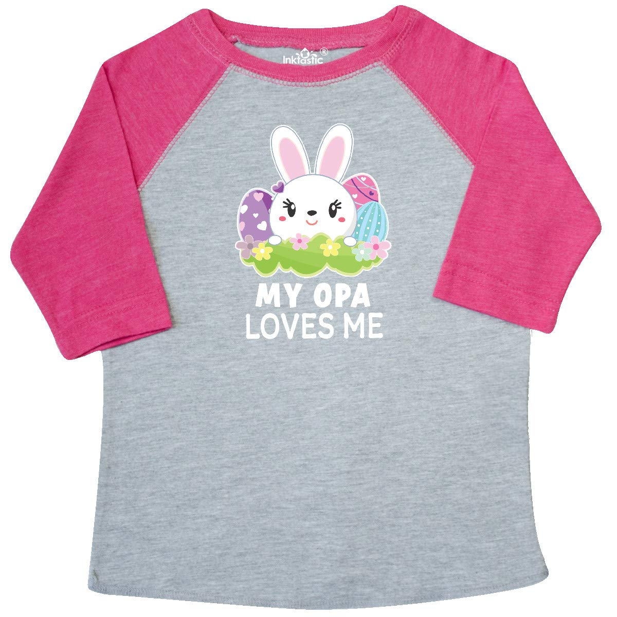 inktastic My Opa Loves Me with Bunny and Easter Eggs Toddler T-Shirt
