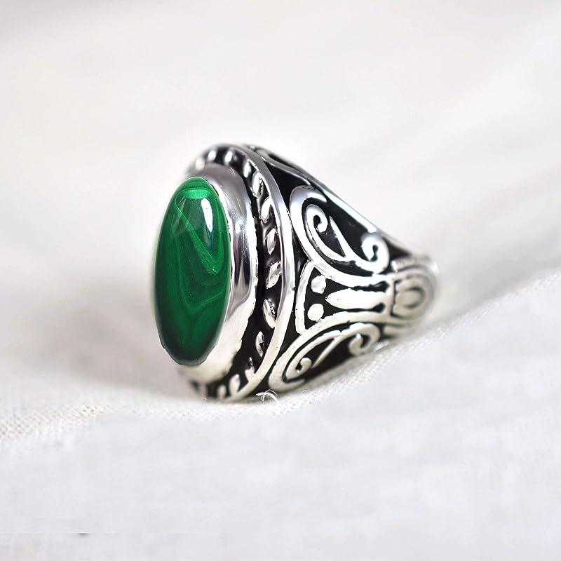 Handmade Silver Ring-925 Sterling Silver Ring-Square Malachite Designer Ring-Scorpio Birthstone-Promise Ring Natural Malachite Ring