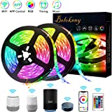 Beloksny LED Strip 32.8ft Work with Alexa Google Home, RGB LED Lights WiFi Wireless Smartphone to Control Room, Kitchen, Home Party Music Sync 300 LEDs