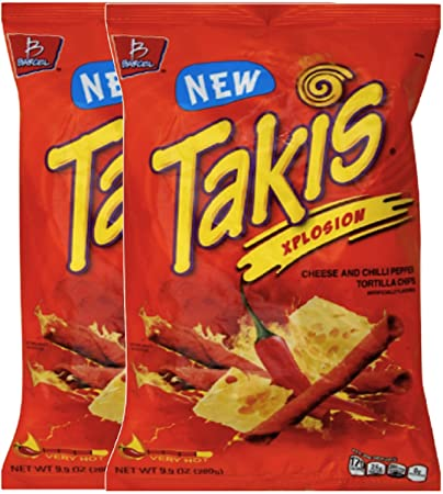 3dd8a055edfc8 Barcel Takis Xplosion Cheese & Chilli Pepper Tortilla Chips Snack Care  Package for College, Military, Sports...