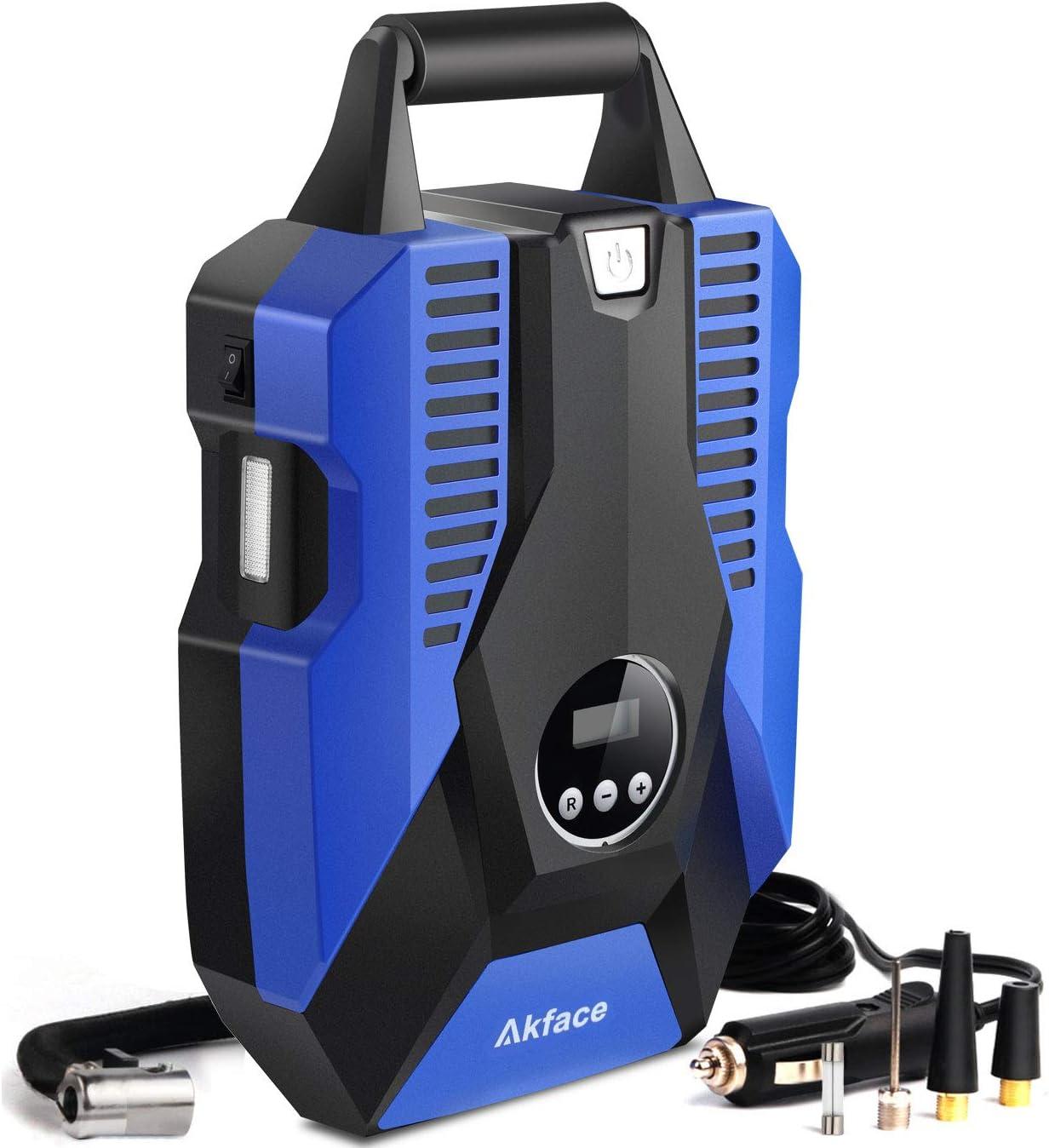 Compresores de Aire Portátiles Akface, Pantalla Digital de Hasta 150PSI DC 12V, Inflador de Neumáticos Digital con Manómetro para Inflables de Coche o Bicicleta