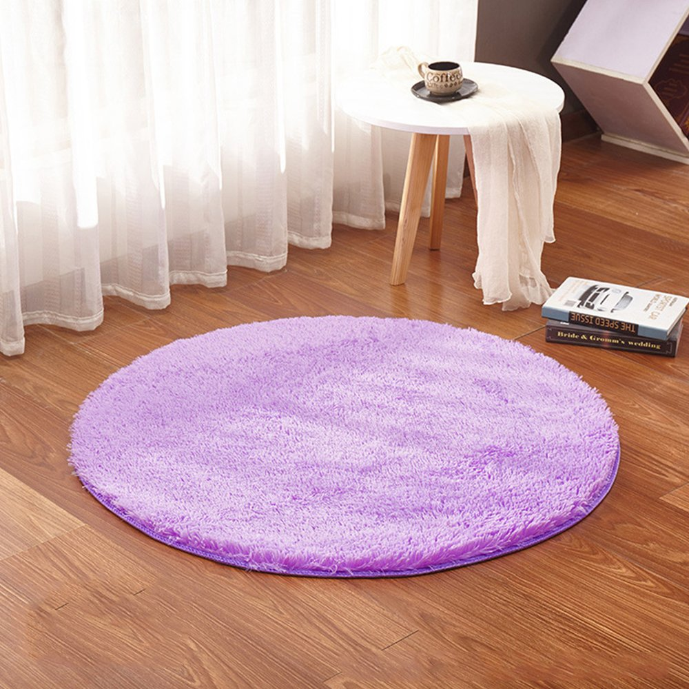 Asdomo Round Fluffy Shag Area Rugs Floor Mat Soft Living Room Bedroom Nursery Carpet Cozy Plush Chair Cover Anti-slip Woman Yoga Mat Kids Room Carpets Play Tent Mat Home Decoration, 3'3