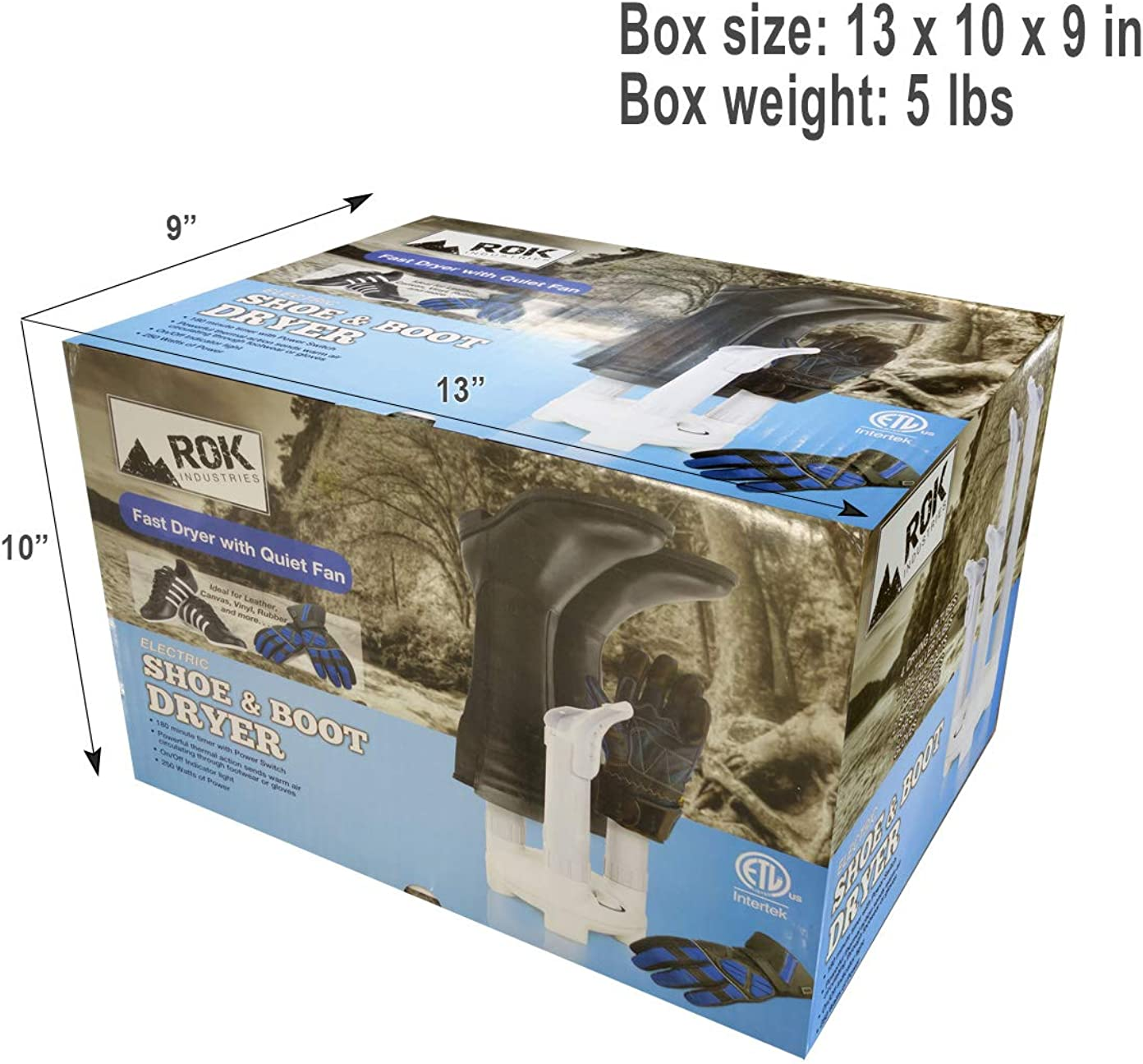 ROK Industries Fast and Silent 4-Shoe Electric Boot Dryer Warmer Thermal Convection Wet Footwear and Glove Heater