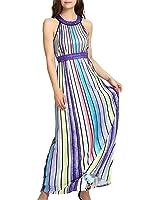Eloise Isabel Fashion Sexy Praia Vestido de Verão Para As Mulheres de Cor Listrado Vestido Longo