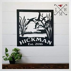 DONL9BAUER Metal Sign Decorative Metal Duck Hunting Sign, Wildlife Metal Art Plaque Home Decor Wall Art Metal Sculpture Front Porch Door Hanger, Best Gift