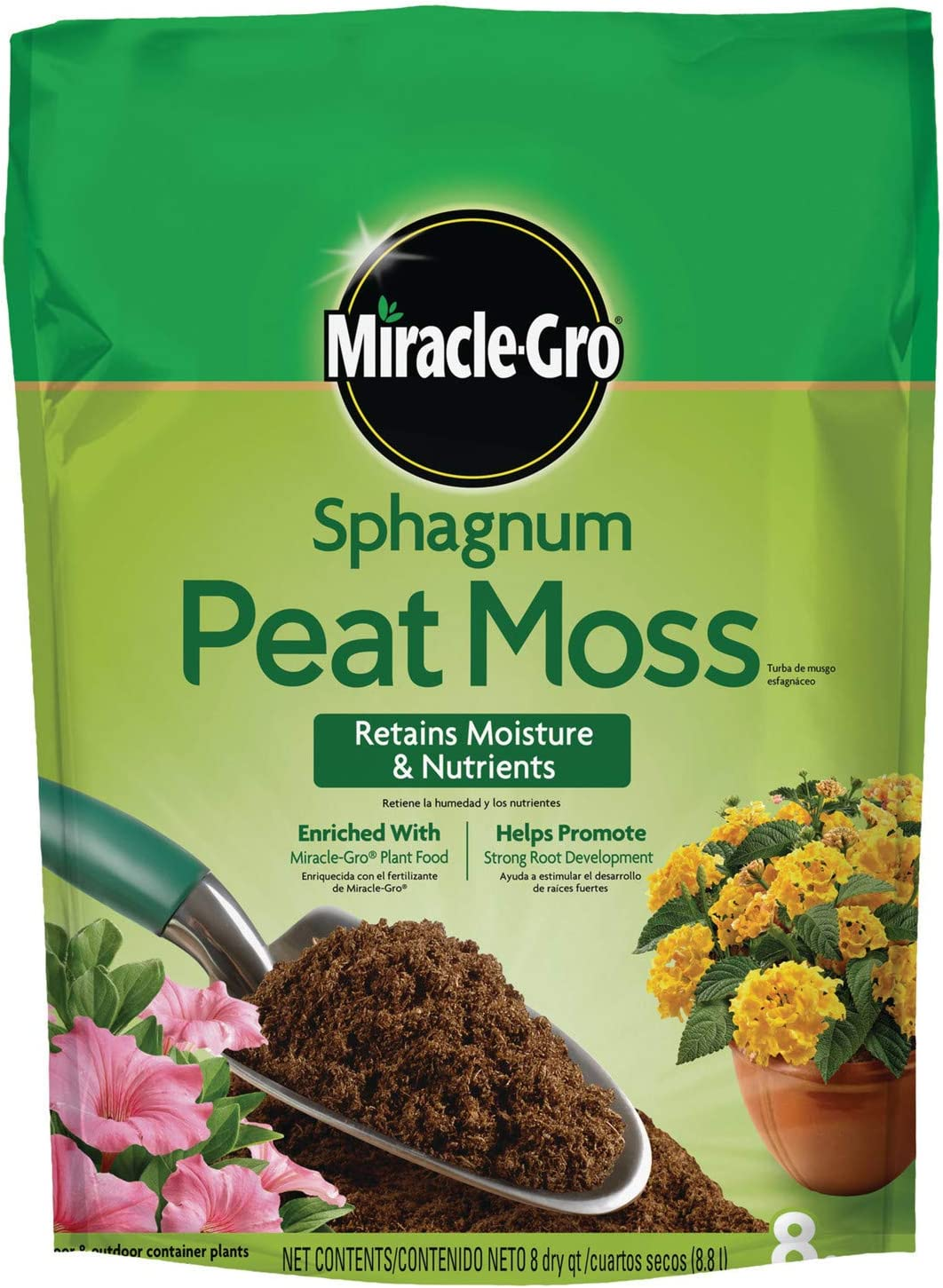 Miracle-Gro 85278437 Northeastern & Midwestern States Sphagnum Peat Moss, 8-Quart (Currently Ships to Select Nor, 1 Pack, N