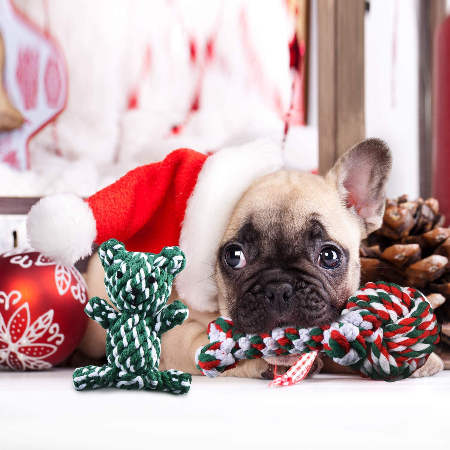 5 Pieces Cleaning Tooth Oral Cavity for Small and Medium-Sized Dogs Gejoy Christmas Dog Rope Toys Christmas Dog Chew Toys Kit Cotton Rope Knot Chew Toy Dog Rope Knot Toys for Dog Molars Training