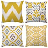 4 Pack Throw Pillow Case Covers Decorative Square Cushion Cover Bohemian Yellow Waves Geometric 18x18 Decorative Modern Simple Geometric Style Soft Linen