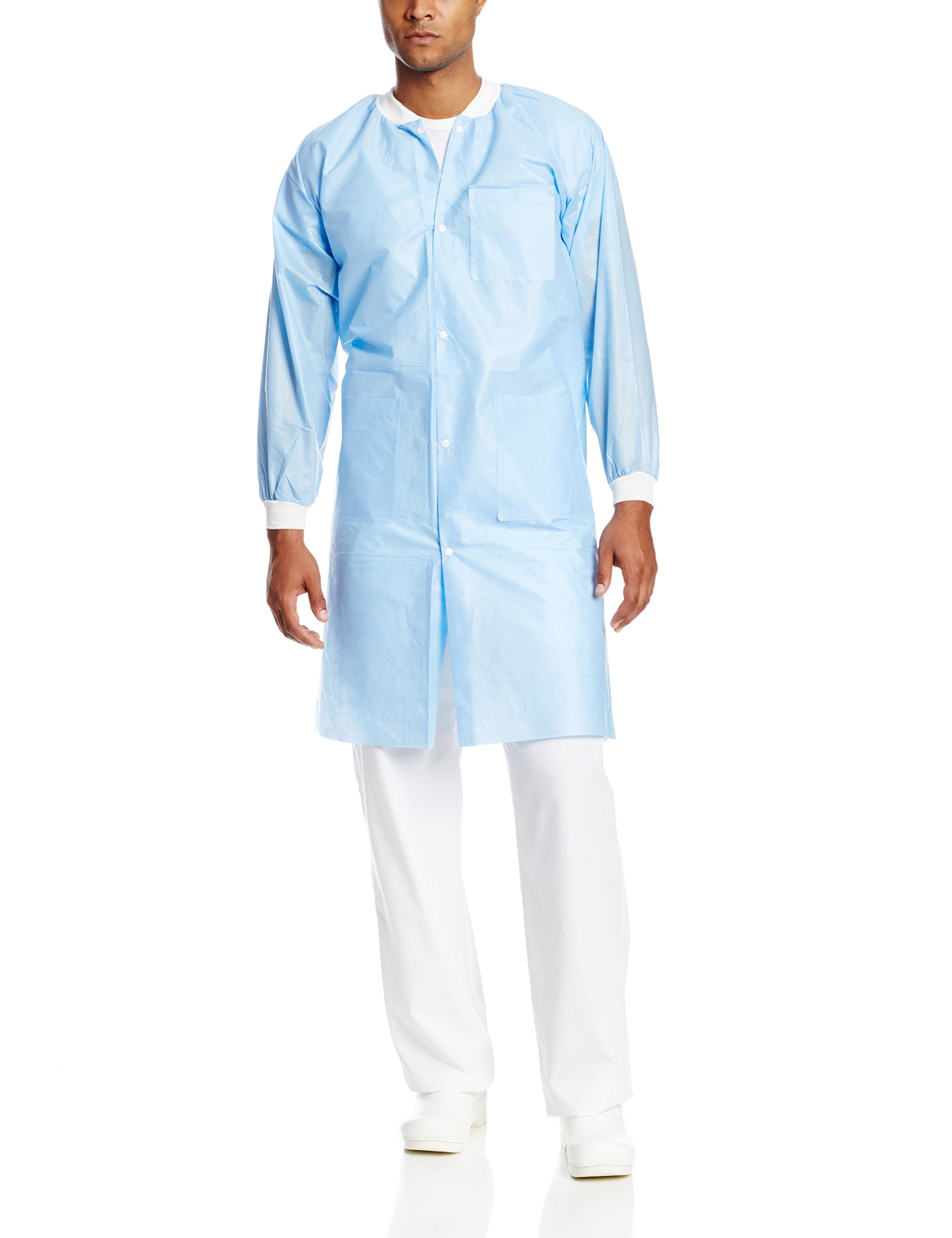 ValuMax 3660MBXL Extra-Safe, Wrinkle-Free, Noble Looking Disposable SMS Knee Length Lab Coat, Medical Blue, XL, Pack of 10