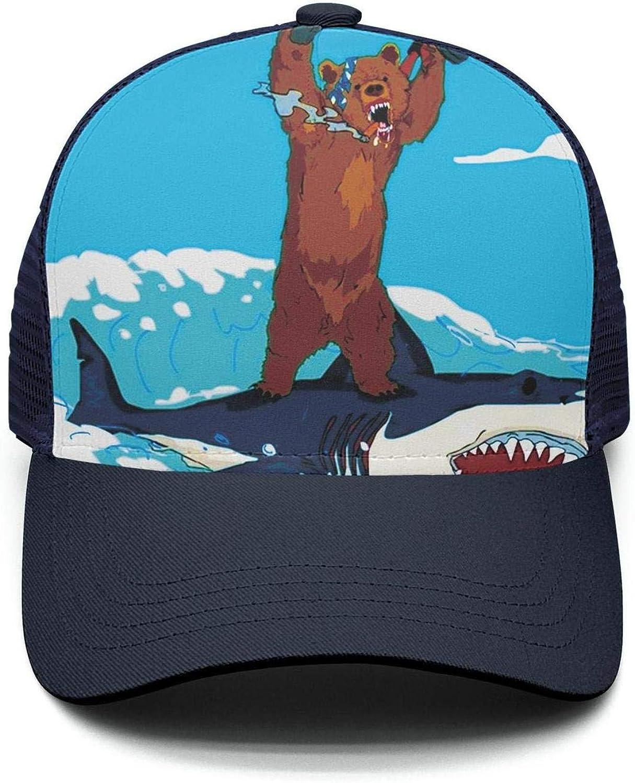 Shark Eat Pizza Sea Unisex Adjustable Mesh Back Baseball Hats Trucker Cap