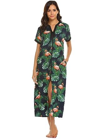 ec8e7f0cc9 Ekouaer Robes Women Zipper Front V-Neck Short Sleeve Floral Sleepwear  Pockets S-XXL