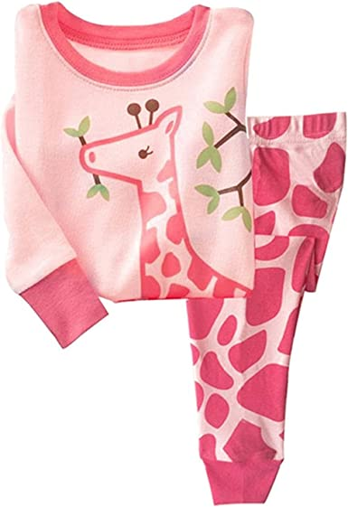 Tkiames Pijama para Niña de Jirafa 2 Pieza Precioso Pijama 100% algodón 1-7 Anos: Amazon.es: Ropa y accesorios