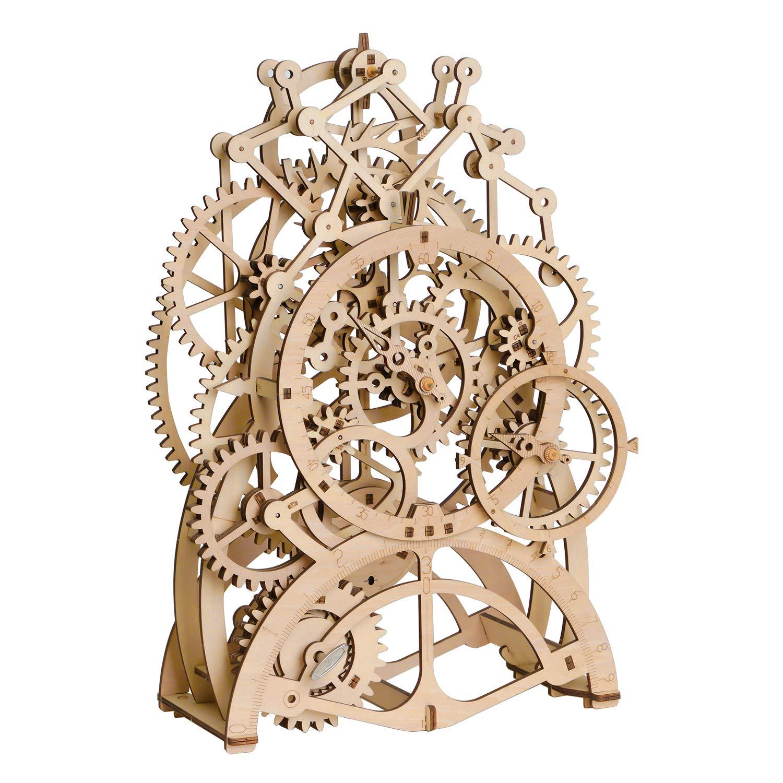 ROKR 3D Wooden Puzzle Building Clock Construction Kit Mechanical Model Building Gift Pendulum Clock by ROKR