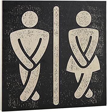 Amazon Com Bathroom Wall Art Funny Wood Sign For Mens And Womens Unisex Door Or Decoration Office Products