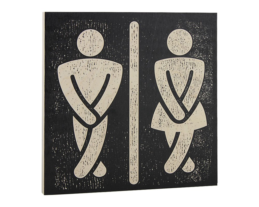 Bathroom Wall Art Funny Wood Sign for Mens and Womens Unisex Door Or Decoration