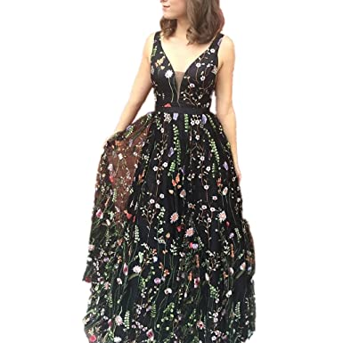 LeoGirl Womens Floral Embroidered Maxi Prom Dresses Sexy Deep V-Neck Formal Evening Gown (