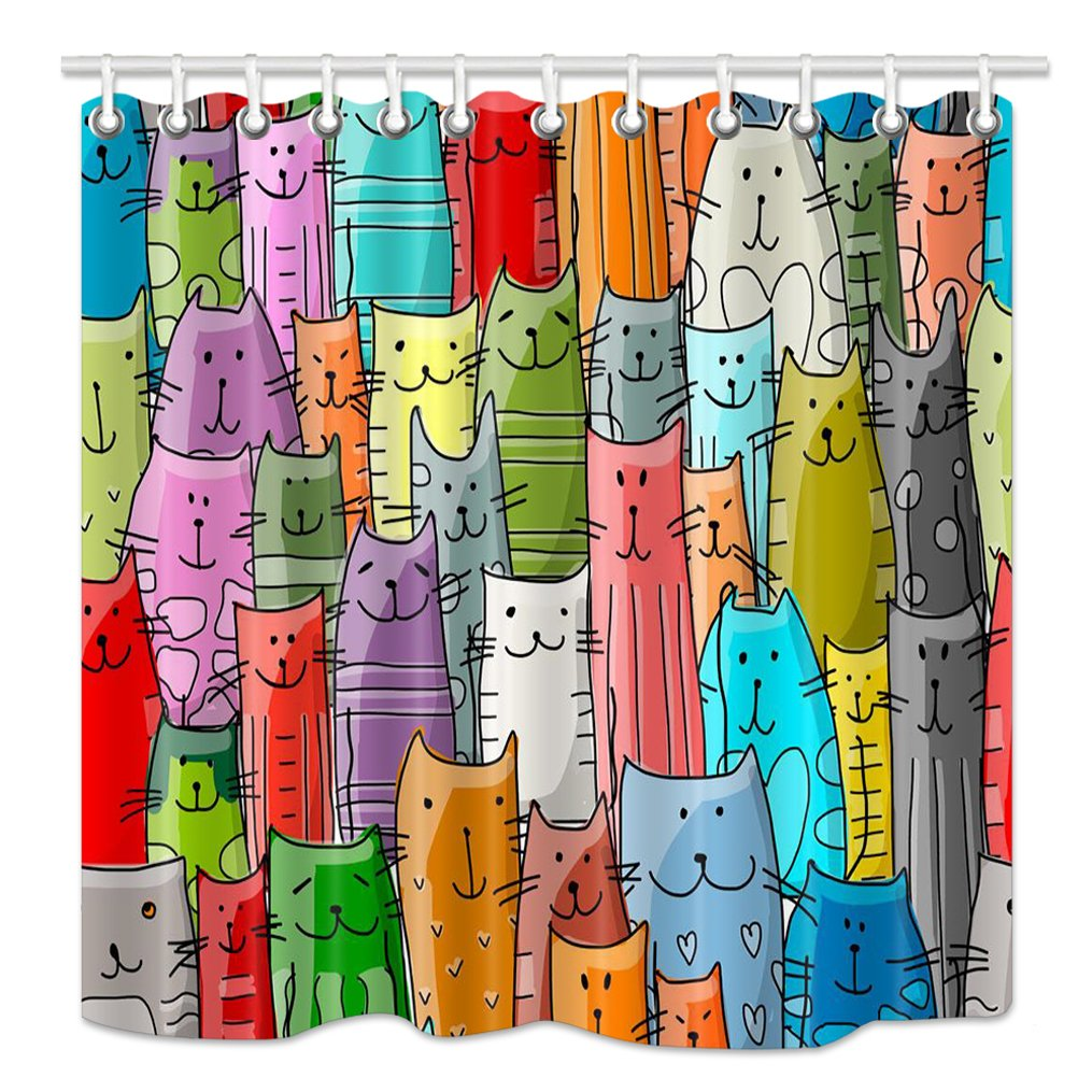 NYMB Cartoon Cat Lover Shower Curtain, Funny Animals Kitten Decor for Kids, Superior Mildew Waterproof Resistant Fabric Bathroom Decorations, Bath Curtains Hooks Included, 69X70 inches