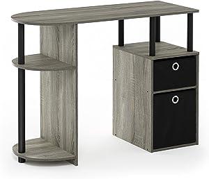 Furinno Jaya Simplistic Computer Study Desk, French Oak Grey/Black