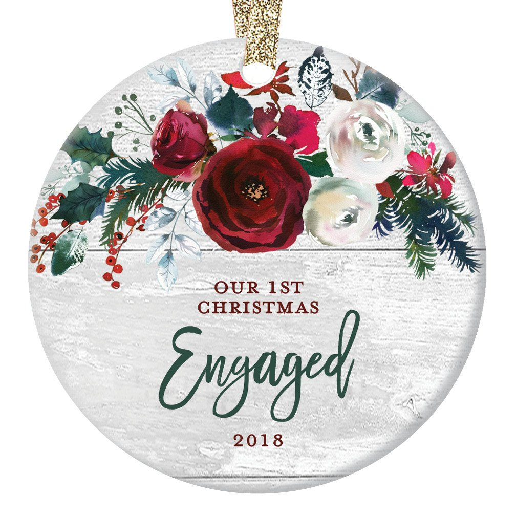 Modern Farmhouse Engagement Ornament 2018, 1st Christmas Engaged, Gift for Couple Bride & Groom to Be Rustic Decor Present Ceramic Keepsake Present 3