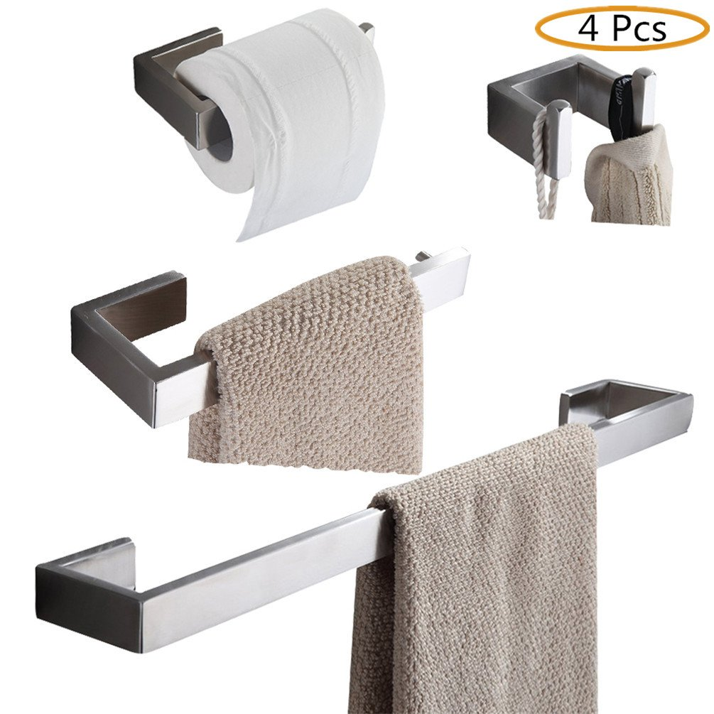 WINCASE Stainless Steel Bathroom Accessory Set 4 Pieces: Robe Hook, Paper Holder, Towel Ring, 60cm Towel Bar, Brushed Nickel finished Wall Mounted