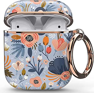 wenew Protective Airpods Case Cover for Apple Airpods 2 & 1, Cute Fadeless Patterns Shockproof Hard Case Cover with Portable Keychain for Girls Kids Women Men