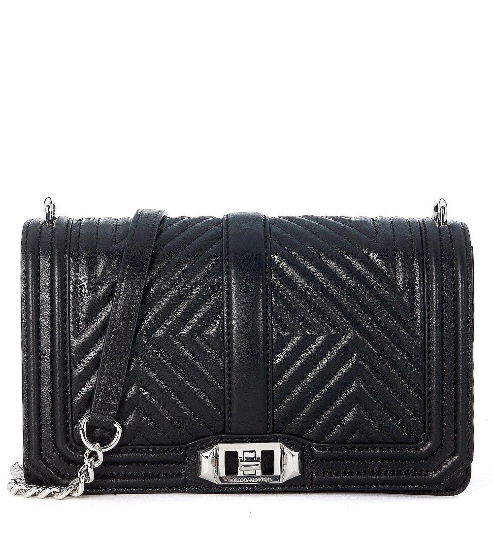 Rebecca Minkoff Women's Geo Quilted Love Cross Body Bag, Black, One Size