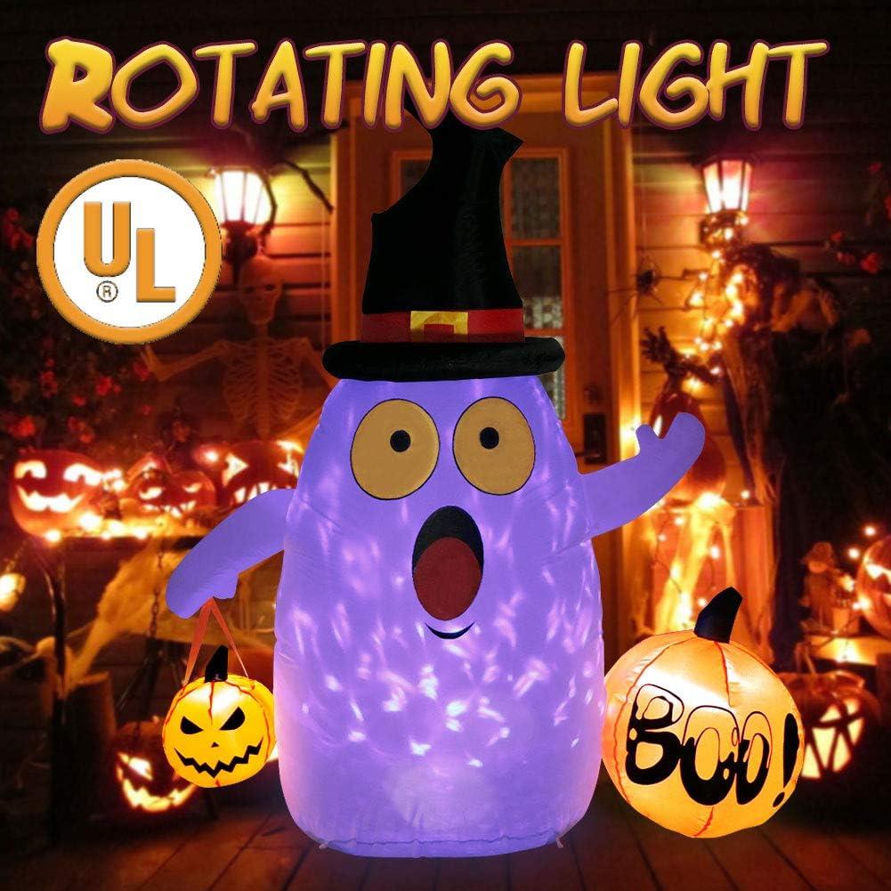 OurWarm Halloween Inflatables 5ft Halloween Ghost with Pumpkin for Halloween Garden Decorations, Halloween Blow Up Yard Decorations