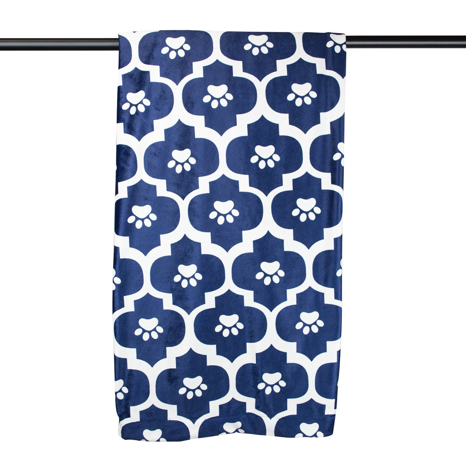 DII Bone Dry Very Warm, Silky Soft, Morrocan Paw Print Pet Blanket For Couch, Car, Trunk, Cage, Kennel, Or Dog House, 48x67'', Blue by Bone Dry