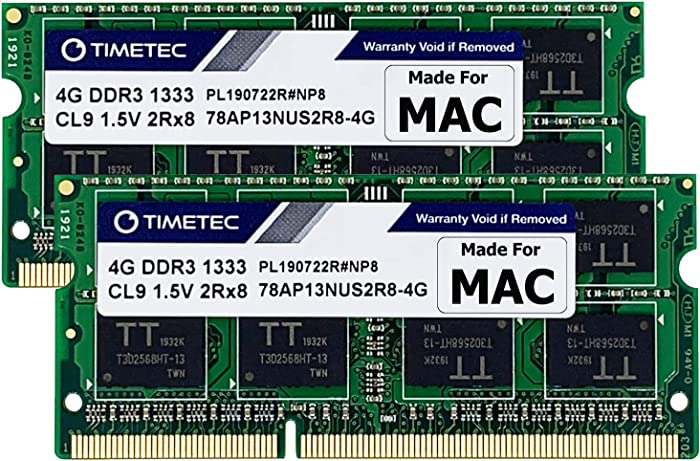 Timetec Hynix IC 8GB KIT(2x4GB) Compatible for Apple DDR3 1333MHz PC3-10600 for Early/Late 2011 13/15/17 inch MacBook Pro, Mid 2010 Mid/Late 2011 21.5/27 inch iMac, Mid 2011 Mac Mini (8GB KIT(2x4GB))