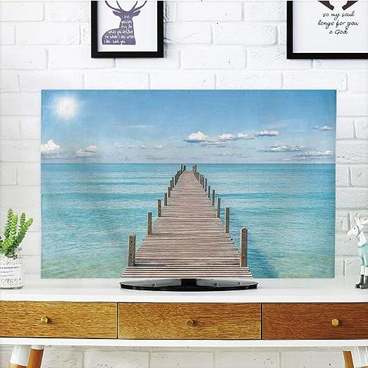 Funda para televisor LCD, diseño de mujer vintage con efectos de reflexión en el dibujo de una antigua moda para mujer con pintura decorativa, color amarillo tierra de jengibre, diseño de impresión