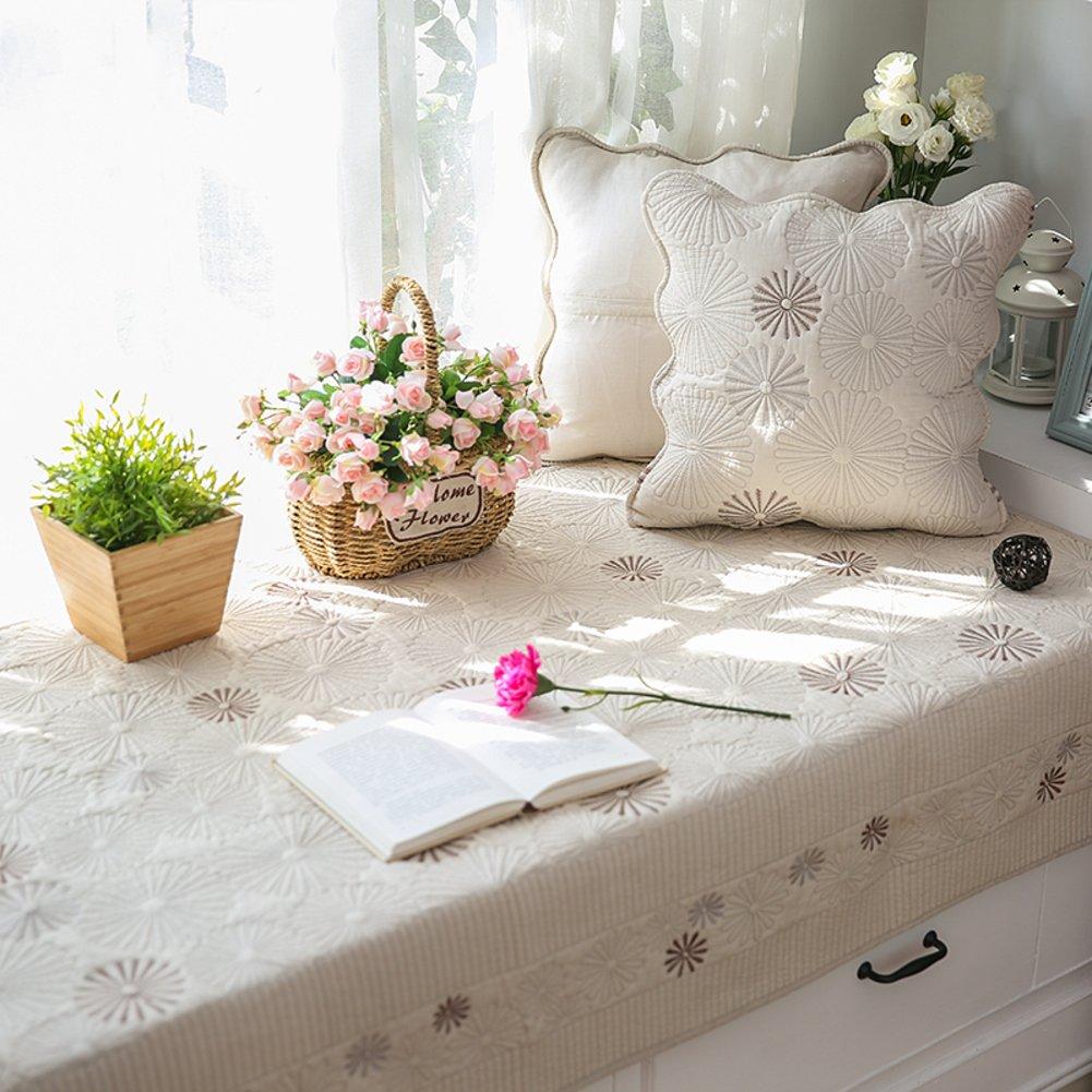 Non-slip Bay window cushion Double-sided Cotton Retro bay window cushion cover seats sill pad tatami mats rugs-E 110x240cm(43x94inch)