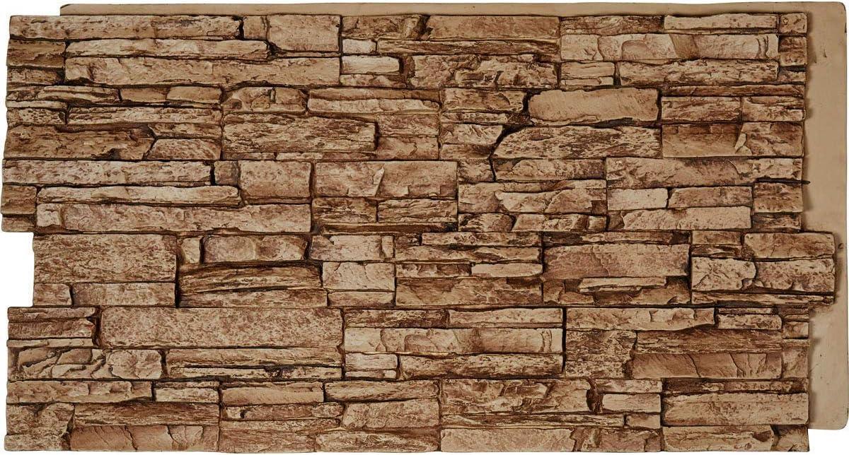 "Ekena Millwork PNU24X48CNSE Canyon Ridge Stacked StoneWall Faux Stone Siding Panel, 45 3/4""W x 24 1/2""H x 1 1/4""D, Sedona"