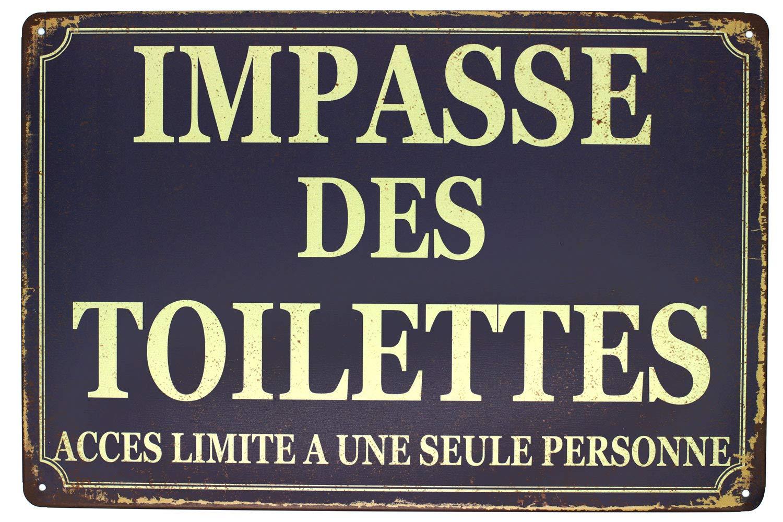 Hioni Impasse des Toilettes, Pancarte en Métal Panneau Poster Plaque Métallique Slogan Art Décor Vintage Pr Bar Café Pub