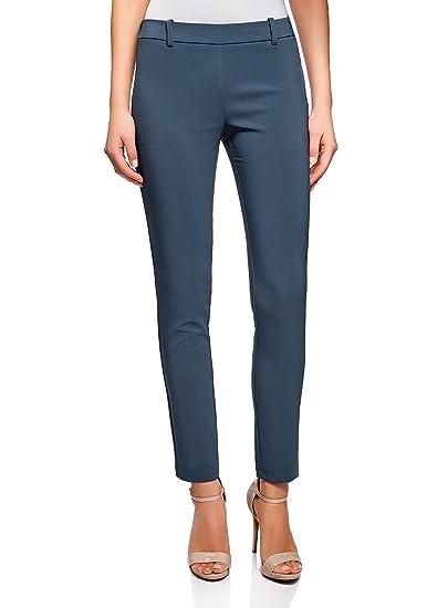 oodji Ultra Femme Pantalon Moulant avec Ceinture Élastique, Bleu, FR 36   XS c0bef79661d8
