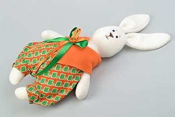 Juguete de peluche artesanal de forro polar conejo con lazo en traje festivo