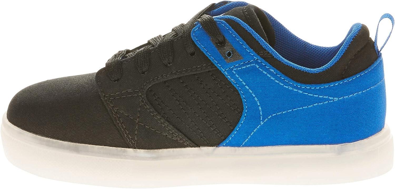 Black//Blue, Size 4, 5 Flash Light Boys Remote Controlled Light up Athletic Skate Shoes
