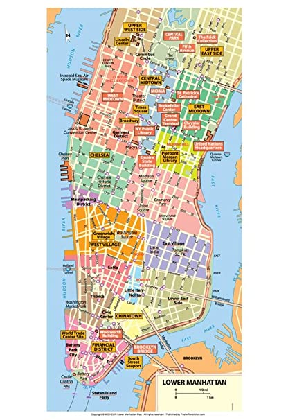 Map Lower Manhattan Amazon.: Michelin Official Lower Manhattan NYC Map Art Print  Map Lower Manhattan