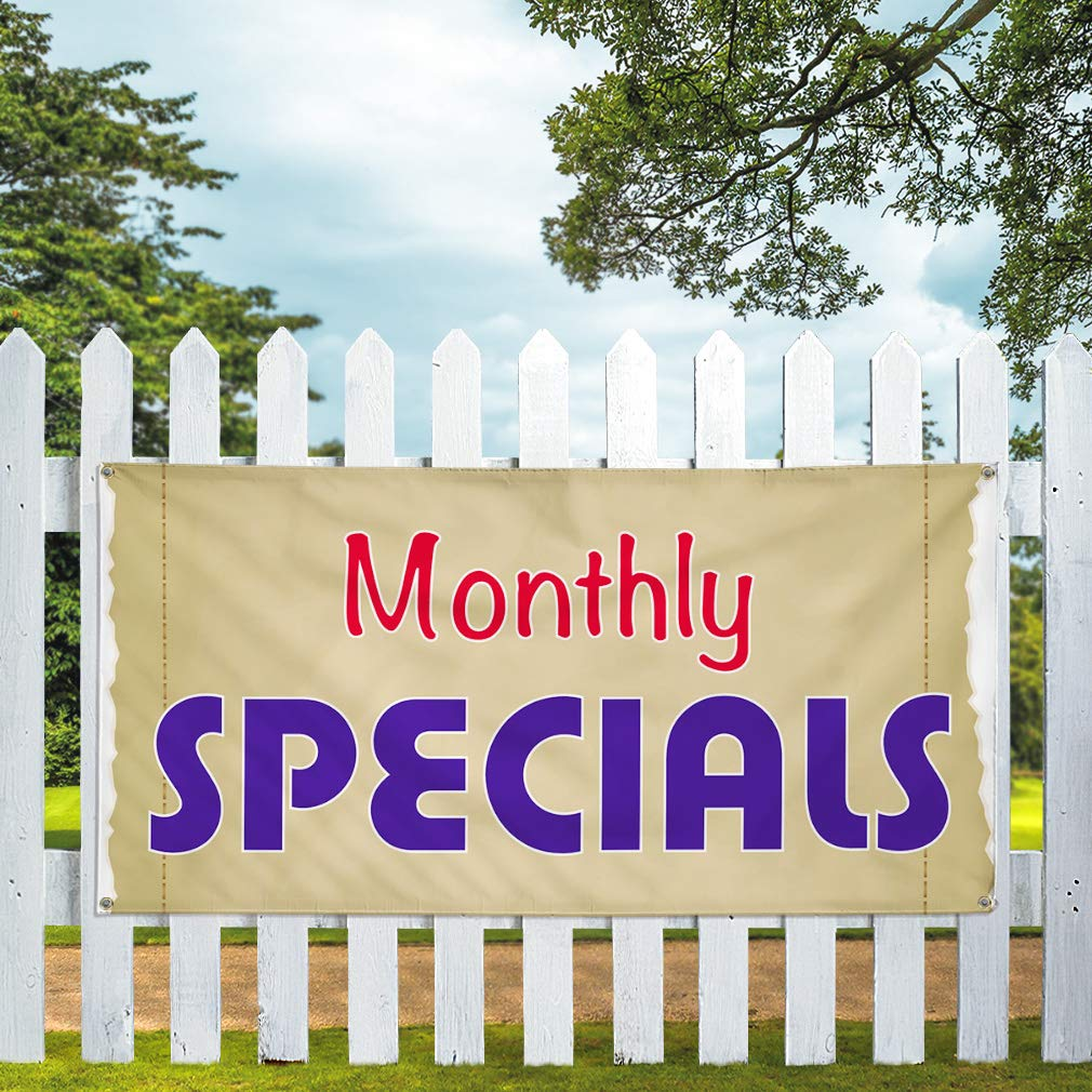 Multiple Sizes Available Vinyl Banner Sign Monthly Specials Business Outdoor Marketing Advertising Golden Set of 2 32inx80in 6 Grommets