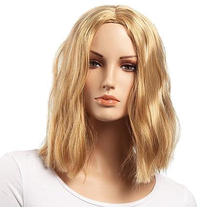 Corta Rubia BOB pelucas parte media Popular estilo platino peluca 14 pulgadas sintéticas Kanekalon extensiones 1