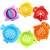 Zooawa Stacked Cup Baby Bath Toys, Toddler Sea Animals Shape Bathtub Stacking Cups, Swimming Pool Water Beach Sand Nesting Cups Playing for Children, Colorful, 6 Pieces