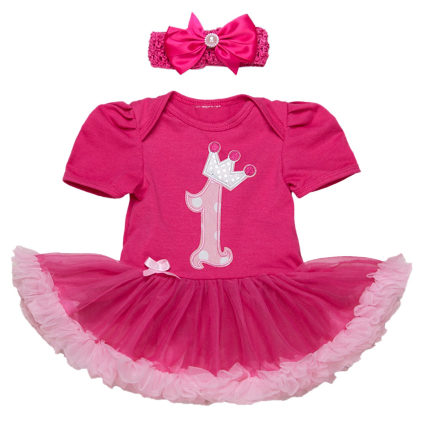 Newborn Baby Girls Print Pattern Birthday Tutu Party Dress Romper Bowknot Headband Set - Crown, Rose Red(1 Year) Size XL Feoya