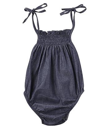 d3a8b6ee332 Baby Infant Girls Sleeveless Denim Bodysuits Romper Newborn Onesies Outfits  (0-3M