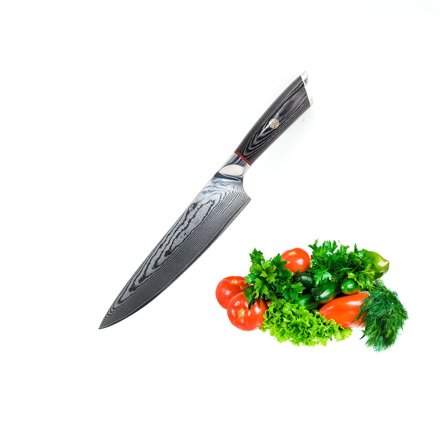 EKUER 8 Inch Chef's Knife for Cutting Sushi,Meat,Fish & Vegetables- Professional Damascus Steel VG10 Ultra Razor Sharp Blade and Ergonomic Handle by EKUER (Image #1)