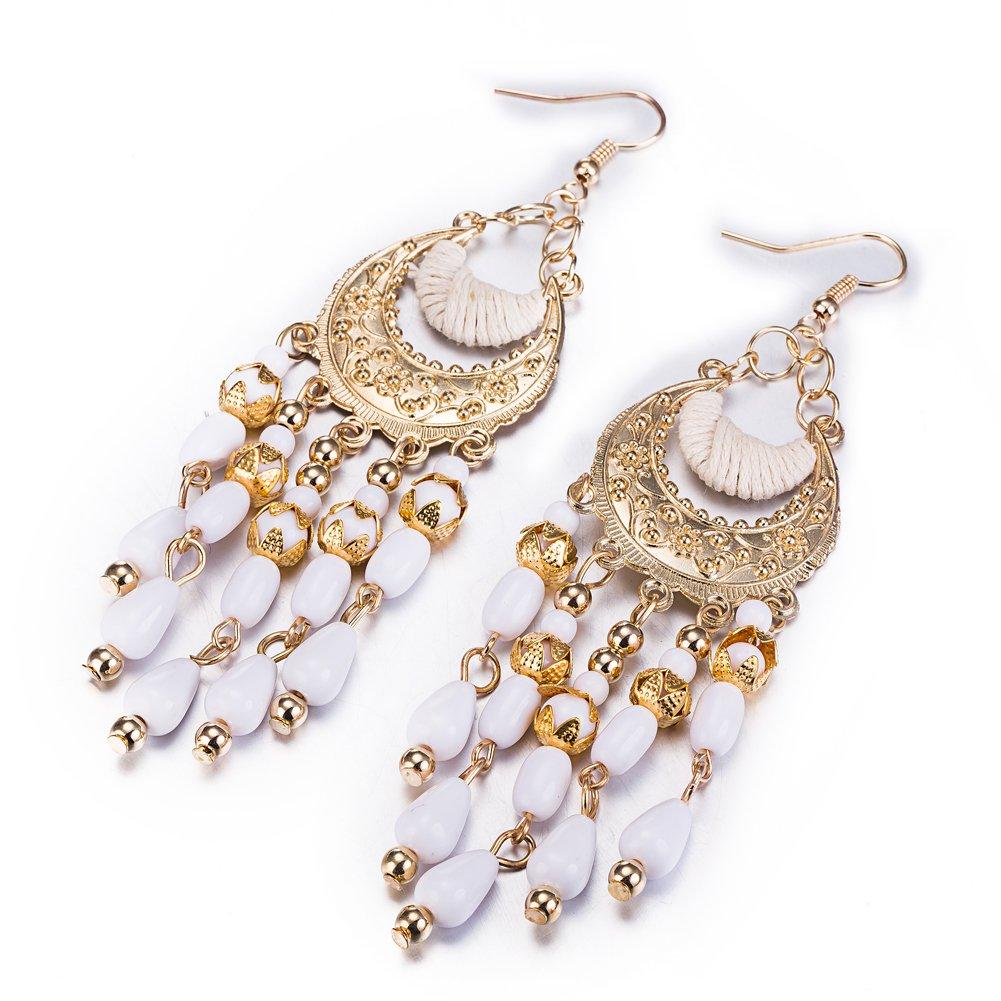 Mothers Day Earrings for Women Girls Bohemia Beaded Chandelier Dangle Drop Earrings Boho Native American Style