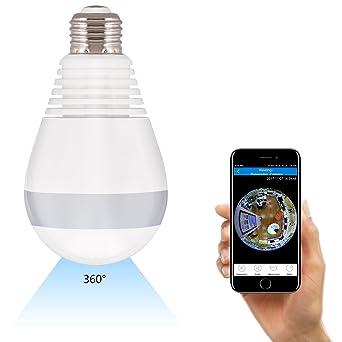 16GB WIFI Bombilla Cámara, AGPTEK Cámara Bombilla de luz doméstica y Seguridad para Android IOS