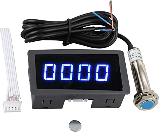 4 Digital Red LED Tachometer RPM Speed Meter+NPN Hall Proximity Sensor 3 Wires