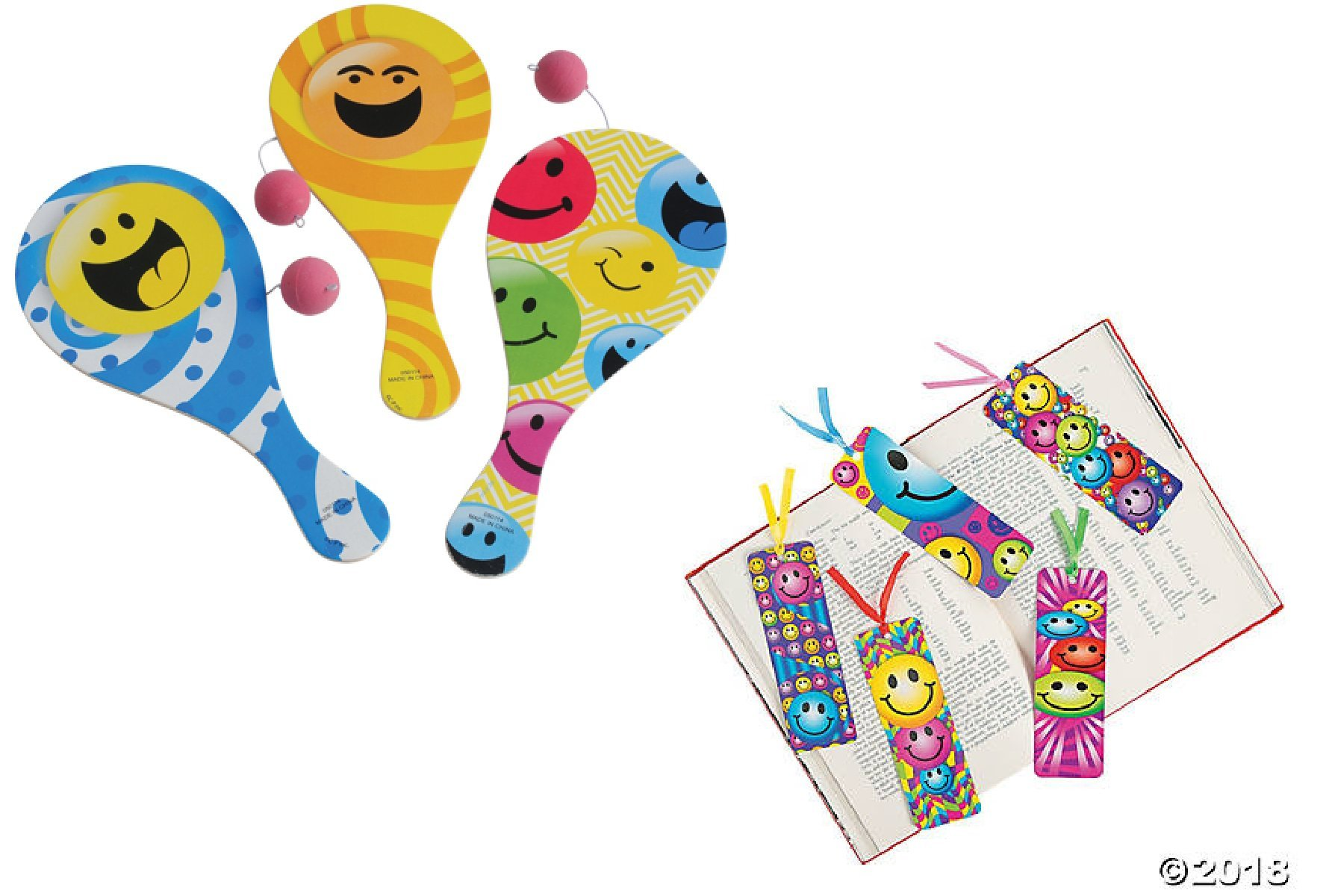 60 Cute Smiley Face Party Favors - 1 DZ (12) Smiley Paddleball games & 4 DZ (48) Smile Bookmarks - Smiley Emoji Gift party Student Reward Classroom Giveaway