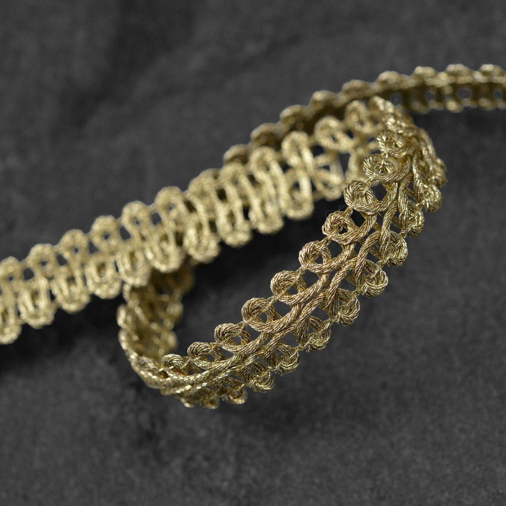 10mm Fine Metallic OLD GOLD Braid Trim for Bridal, Costume or Jewelry, Crafts and Sewing by 4-Yards, MAY-AL305 Joyce Trimming