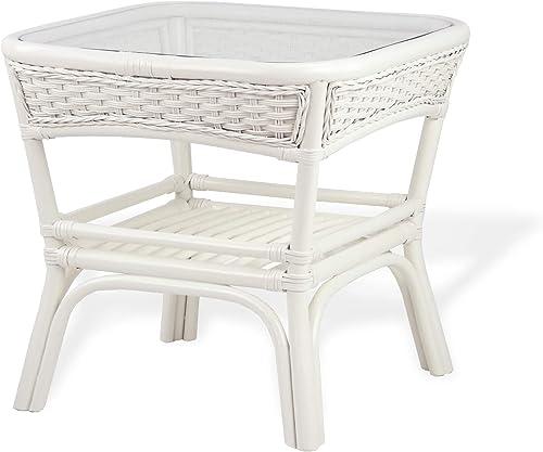 Alexa Square Coffee Table White Color Natural Rattan Wicker Handmade Design